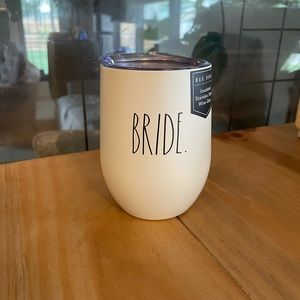 Rae Dunn BRIDE insulated wine glass with lid.